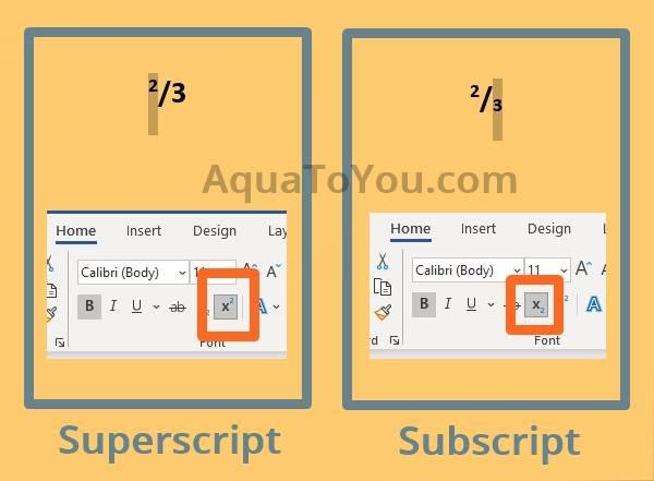 Cara Membuat Pecahan dengan Garis Miring (Fitur Superscript dan Subscript)