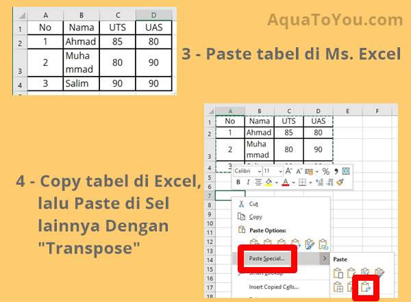 2 - Paste di Excel, Lalu Copy, dan Paste Kembali Menggunakan Transpose