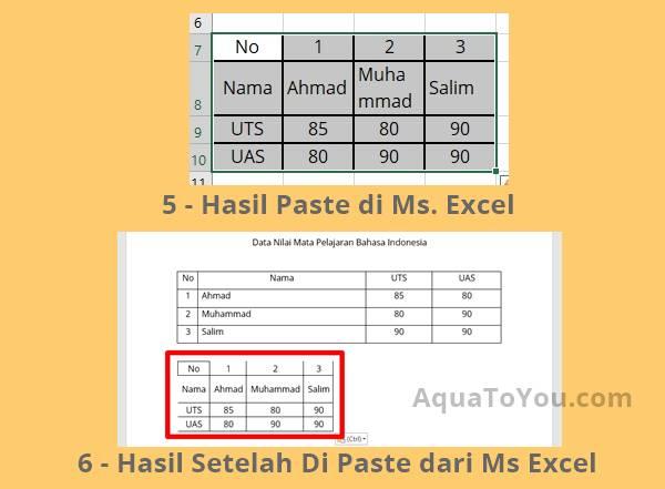 3 - Hasil Mengubah Kolom Menjadi Baris di Ms Word