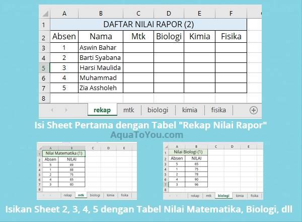 1 - Buatlah 5 Sheet yang Berisi 5 Tabel (Rekap, Nilai Mtk, Bio, Kimia, Fisika)