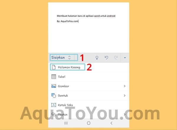Cara Pindah Halaman tanpa Enter Menggunakan Aplikasi Word di HP Android atau Ponsel IPhone