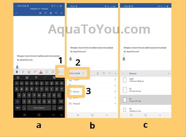 Gambar Tutorial Cara Mengatur Ukuran Kertas di Aplikasi Microsoft Word untukl HP Smartphone Android dan IOS