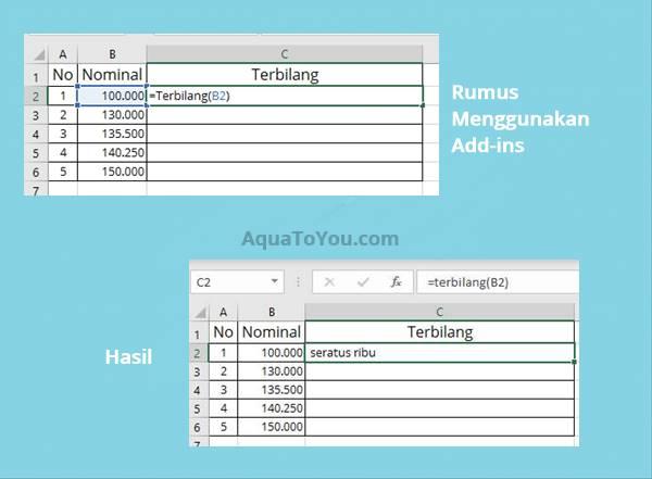 Menulis Rumus dan Hasil Penggunaan Add In Terbilang di Excel