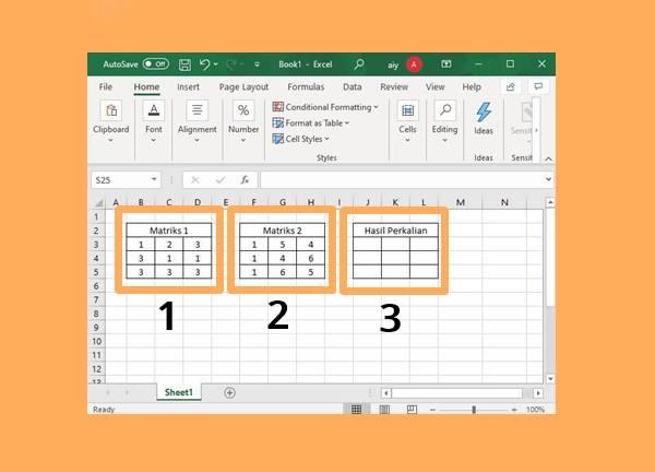 Siapkan 3 Buah Matrik Yaitu Matrix 1 Matrix 2 Serta Matrix Hasil Kali (yang Masih Kosongan)