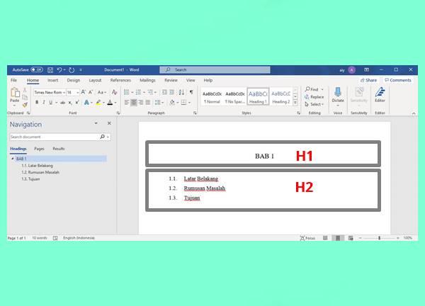 Tampilan Layar Setelah Menggunakan Tutorial Mengubah Format Default Heading
