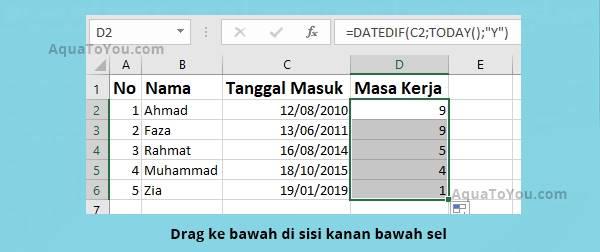 3 Jangan Lupa Drag Bagian Kanan Bawah Sel Sampai Data Terisi Seluruhnya