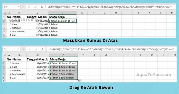 Tutorial Cara Menghitung Masa Kerja Pegawai di Excel