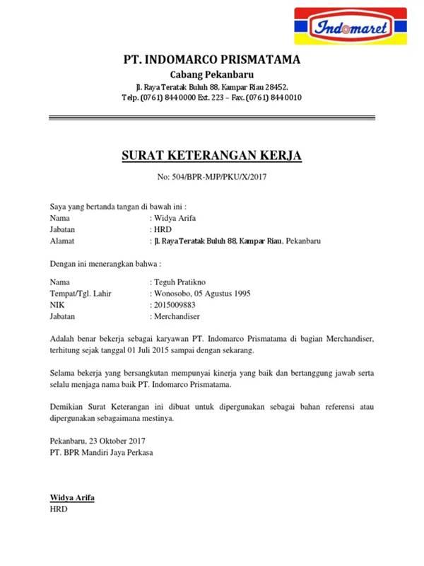 Contoh Surat Keterangan Kerja Untuk Karyawan Indomart