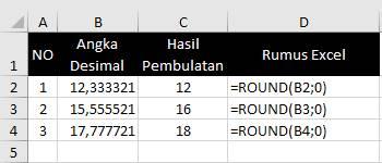 Contoh Cara Pembulatan Di Excel
