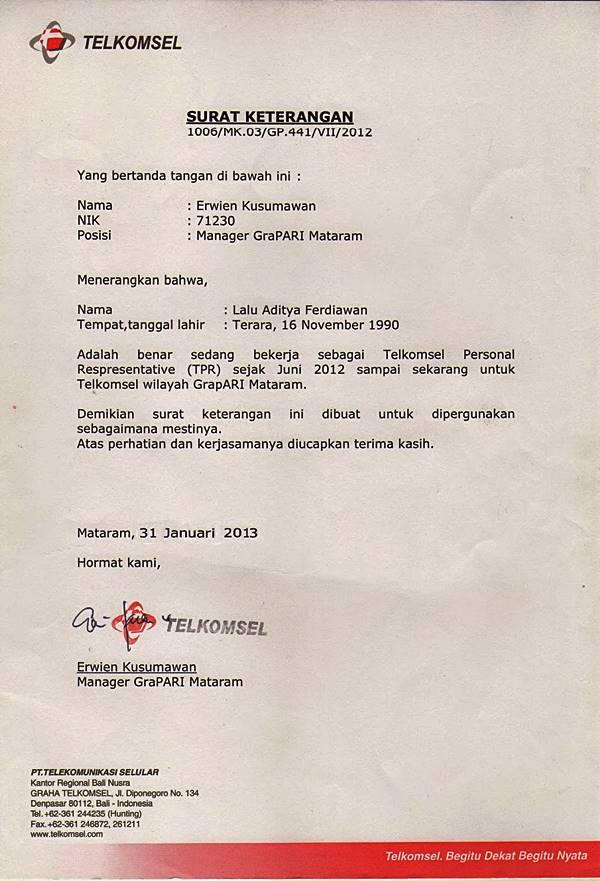 Download Contoh Surat Kerja Di Telkomsel