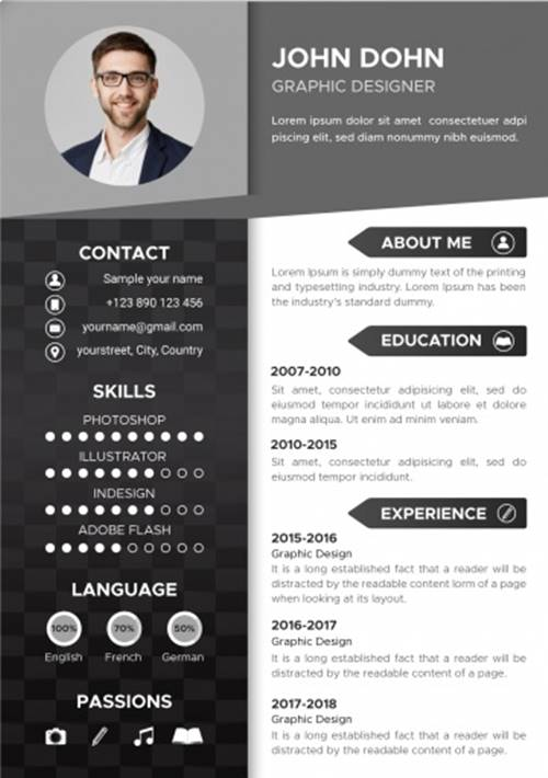 Download Template Cv Monokrom Minimalis