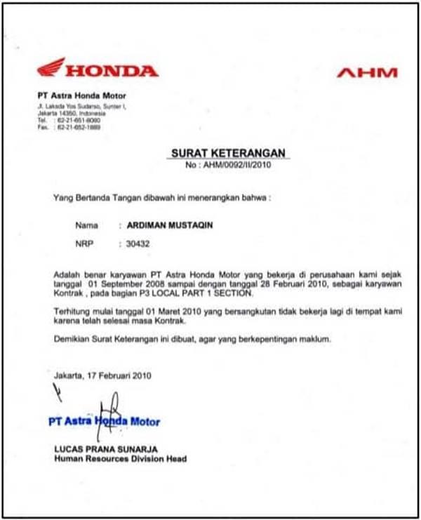 Template Skk Untuk Karyawan Ahm Honda