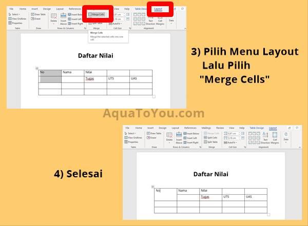 2 - Pilih Menu Layout, Kemudian Tekan Merge Cells