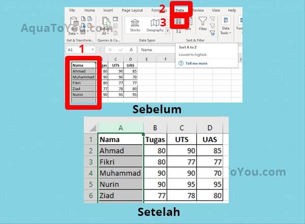 Tutorial Cara Mengurutkan Data Di Excel
