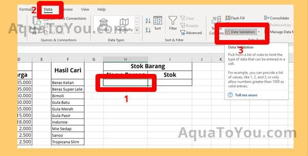 1 Mengaktifkan Data Validation Pada Sel Pencarian Data Barang