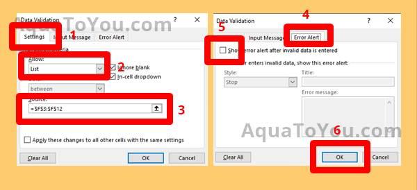 2 Mengaktifkan Data Validation Pada Sel Pencarian Data Barang